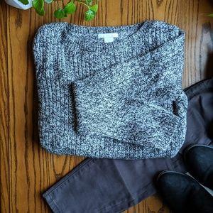 H&M Black & White Marled Knit Sweater